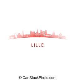 lille, siluetta skyline, francia