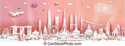 limiti, asia, centro, skyline., turismo, celebrazione, architettura