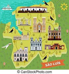 limiti, brasile, luis., mappa, sao, sightseeing