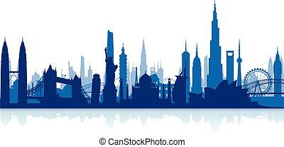 limiti, famoso, cityscape, backgrou