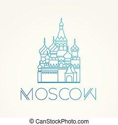 limiti, lineare, st., famoso, europe.., vettore, cathedral., più grande, russia., mondo, icona, mosca, basilico