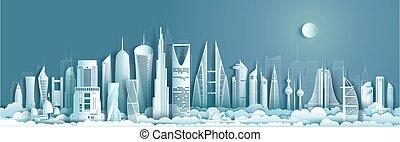 limiti, moderno, medio oriente, viaggiare, asia, architecture.