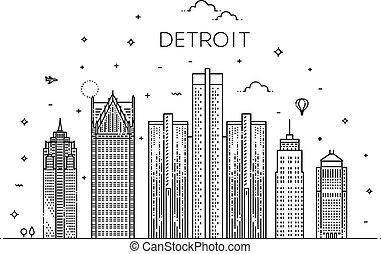 limiti, skyline., architettura, michigan, panorama, costruzioni, icone, detroit, città, paesaggio