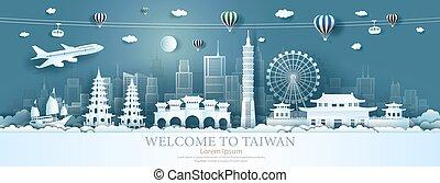 limiti, viaggiare, asia, taiwan, balloons., barca vela, aeroplano