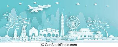 limiti, viaggiare, asia, taiwan, fondo., taipei, città, blu