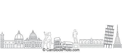 limiti, viaggiare, italy-, scultura, italia, orizzonte, attrazioni, turista, popolare