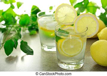 limone, acqua