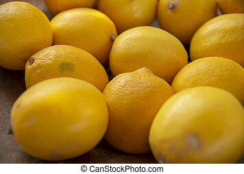 limone, side., frutte, fuoco., selettivo, lato, giallo, fondo., accatastato