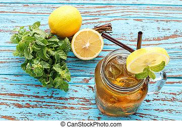 limone, vita, rinfresco, fresco, menta, estate, tè, ancora, bevanda