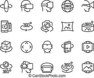 linea, 360 grado, icone
