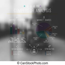 linea, analisi, stile, concorrente, magro, infographics