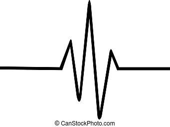 linea, battito cardiaco, magro
