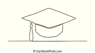 linea, berretto, disegno, graduazione, uno