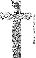 linea, croce, amore, decorazione, floreale, gesù