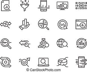 linea, dati, analisi, icone