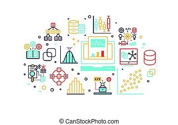 linea, dati, analisi, illustrazione, icone