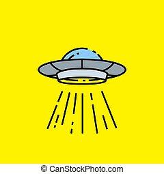 linea, disco volante, ufo, icona
