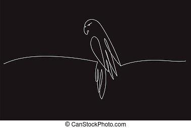 linea, disegno, uno, parrot.