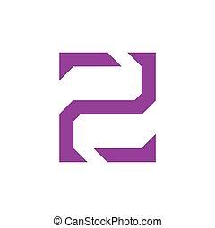 linea, due, geometrico, vettore, logotipo, numero
