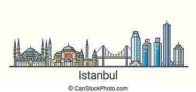 linea fissa, bandiera, istanbul