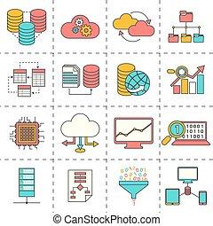 linea fissa, dati, analisi, icone