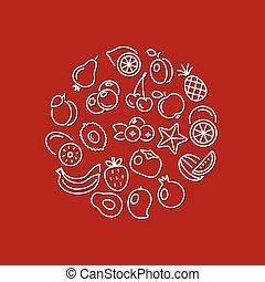 linea, frutta, cerchio, icone