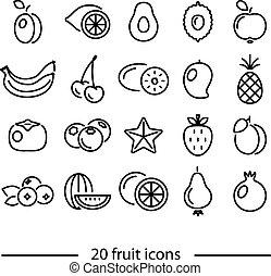 linea, frutta, icone