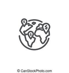 linea, icona, globale, bianco, affari, fondo