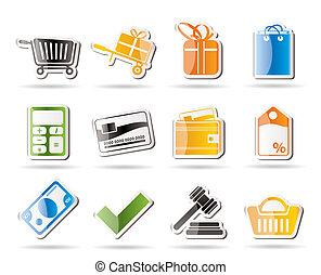 linea, icone, negozio