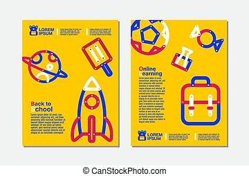 linea, illustration., bandiera, sagoma, educazione, indietro, vettore, scuola, cultura