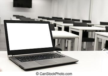 linea, laptop, mettere, classroom., laptop, insegnante, tavola, lavoro, affari, scrivania, o