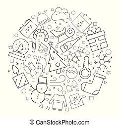 linea, lineare, pattern., cerchio, vettore, fondo, icon., natale