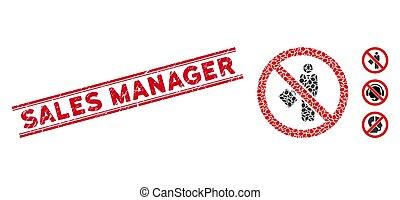 linea, mosaico, no, direttore, uomo affari, vendite, sigillo, textured, icona