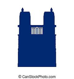 linea, notre, monumento, dama, cattedrale, stile, francia