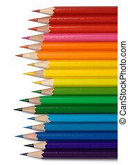 linea, pastelli, organizzato, colori, colorito