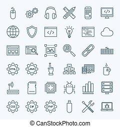 linea, programmazione, icone