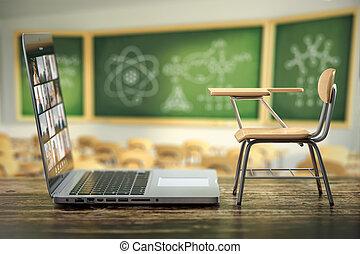 linea, scuola, casa, concept., scrivania, blackdesk, quarantena, classroom., learning., educazione, e-imparando, distanza, laptop
