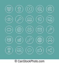 linea, seo, servizi, set, magro, icone