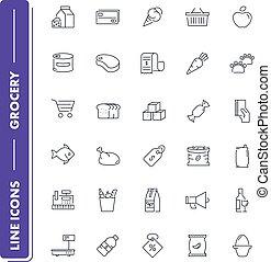 linea, set., drogheria, icone