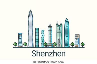 linea, shenzhen, appartamento, bandiera