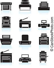 linea, stampante, arte, icone