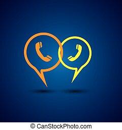 linea, telefono, vettore, linea, -, icona, sostegno, chiacchierata, &, concetto