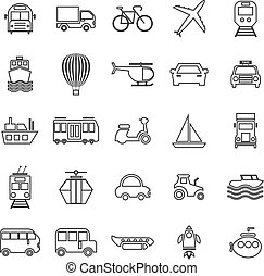 linea, trasporto, sfondo bianco, icone