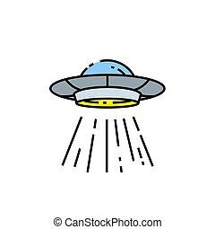 linea, ufo, icona