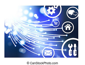 linea, vettore, ai8, fondo, bottoni, ottico, fibra, compatibile, originale, illustration:, cavo, icone, internet
