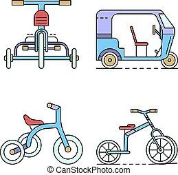 linea, vettore, icona, triciclo, set, colorare