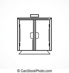 linea, vettore, nero, porta vetro, icona, dentro