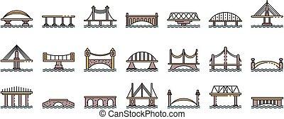 linea, vettore, ponti, icone, set, colorare
