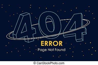 linea, vettore, spazio, fondare, pagina, 404, fondo, errore, non, grafico