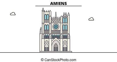 linea, viaggiare, vettore, design., amiens, punto di riferimento, orizzonte, lineare, illustration., cattedrale